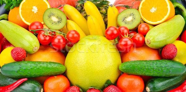 Különböző gyümölcsök zöldségek gyümölcs háttér narancs Stock fotó © alinamd