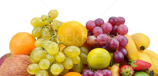 Stock photo: set of fruits isolated on white background