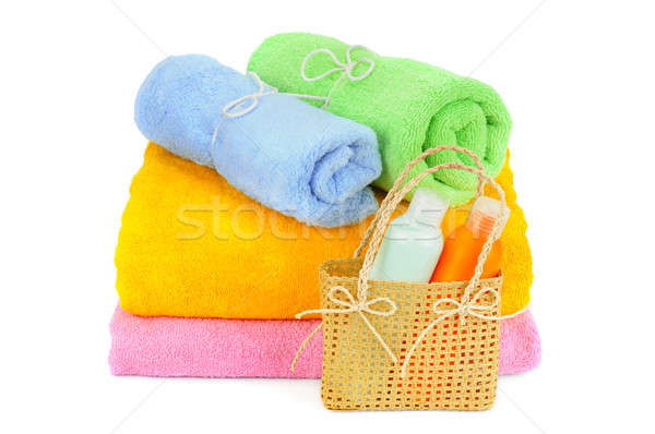 towels and shampoo isolated on white background Stock photo © alinamd