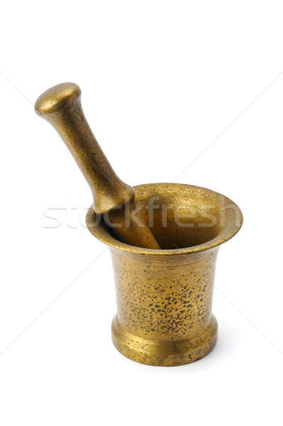 metal mortar and pestle isolated on white Stock photo © alinamd