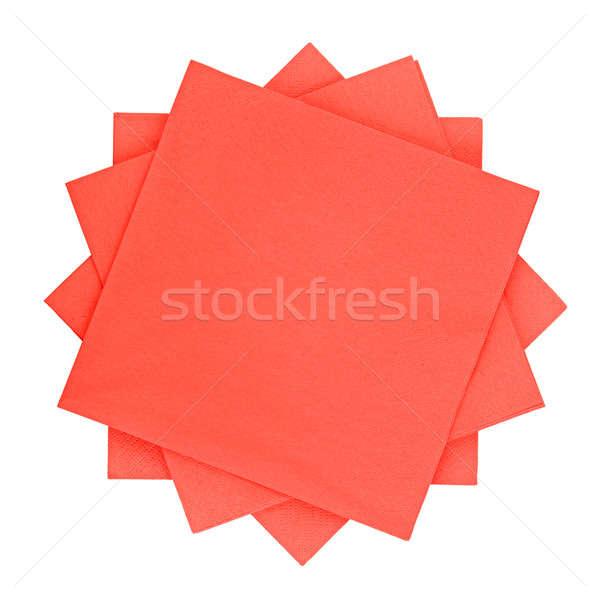 Piros papírzsebkendő papír izolált fehér étterem Stock fotó © alinamd