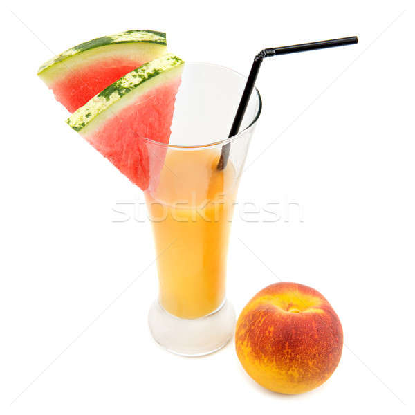 fruit juice , peach  and slices of watermelon Stock photo © alinamd