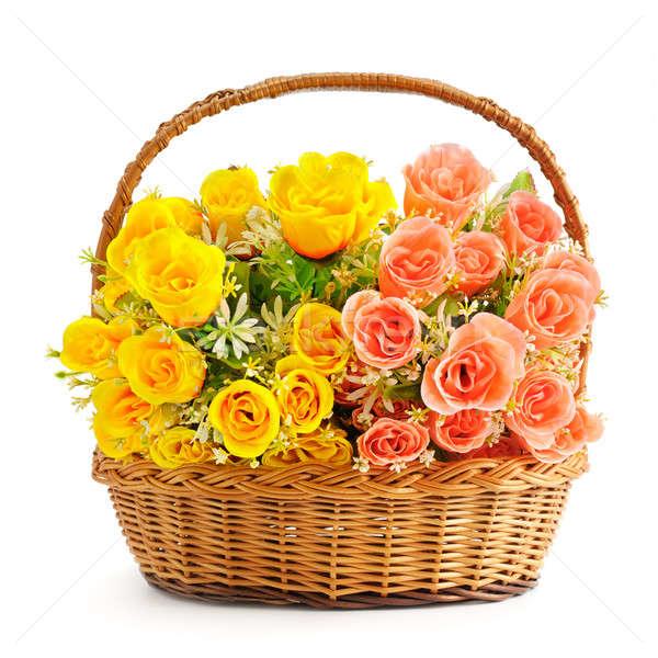 Seda flores cesta aislado blanco aumentó Foto stock © alinamd