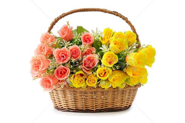 Kwiaty koszyka biały kwiat wzrosła Zdjęcia stock © alinamd