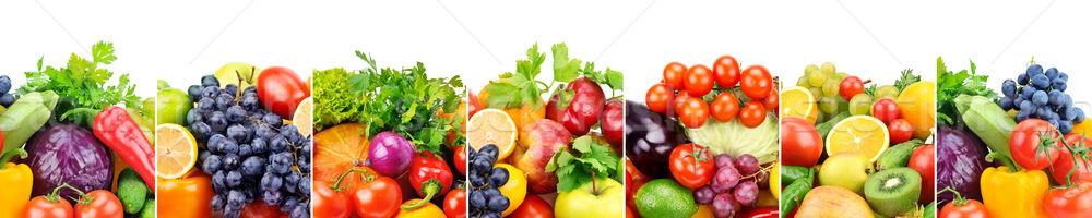 Panoramisch collectie vers vruchten groenten geïsoleerd Stockfoto © alinamd