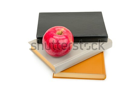 books and red apple isolated on white background Stock photo © alinamd
