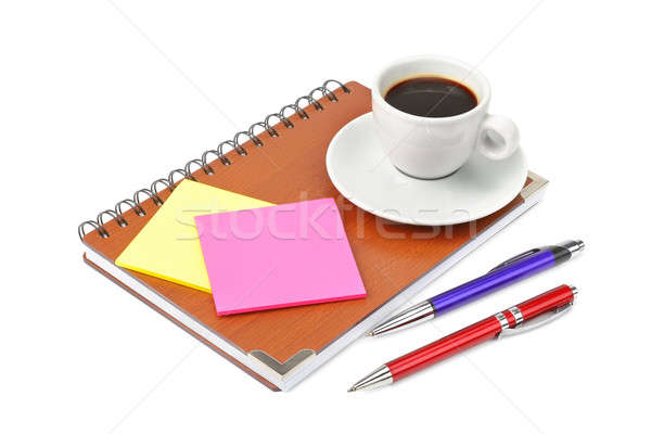notebook and cup of coffee isolated on white background Stock photo © alinamd