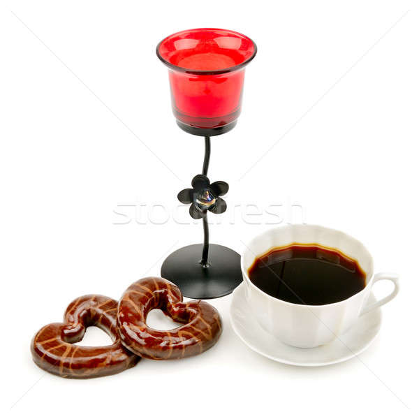 cup with coffee, biscuits and a candlestick isolated on a white  Stock photo © alinamd
