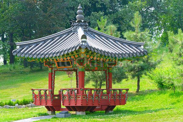 Pagoda meditáció város park égbolt épület Stock fotó © alinamd