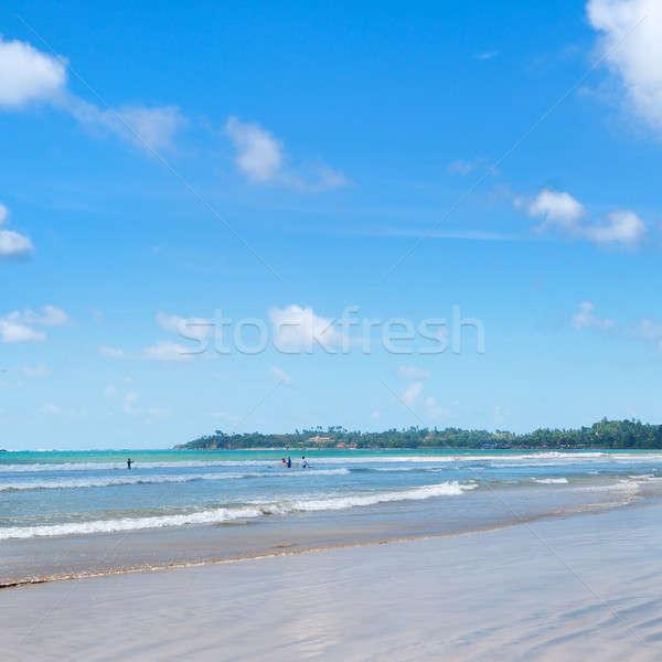 Oceaan zandstrand golven surfen ervaring hemel Stockfoto © alinamd