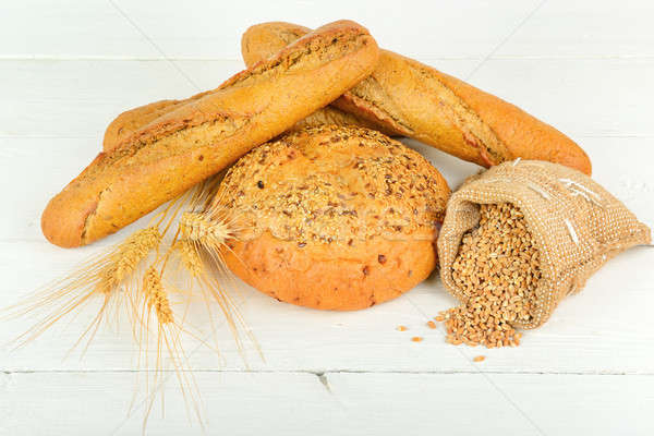 fresh bread and wheat on the wooden Stock photo © alinamd