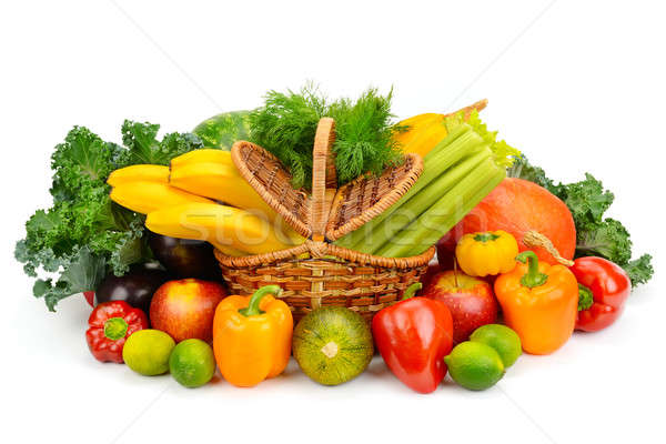 Stock photo: vegetables and fruits in a basket isolated on white background