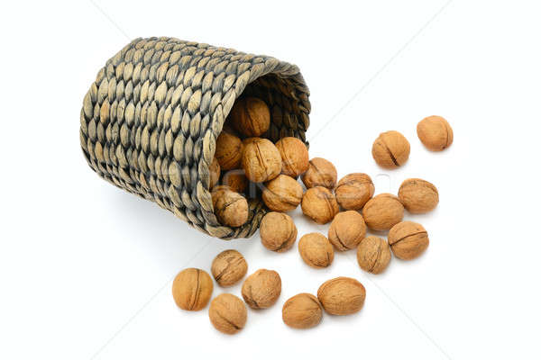 walnuts in a basket isolated on white background Stock photo © alinamd