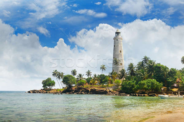 Vuurtoren tropische palmen Sri Lanka strand hemel Stockfoto © alinamd