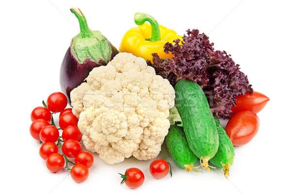 Foto d'archivio: Set · diverso · verdura · isolato · bianco · mercato
