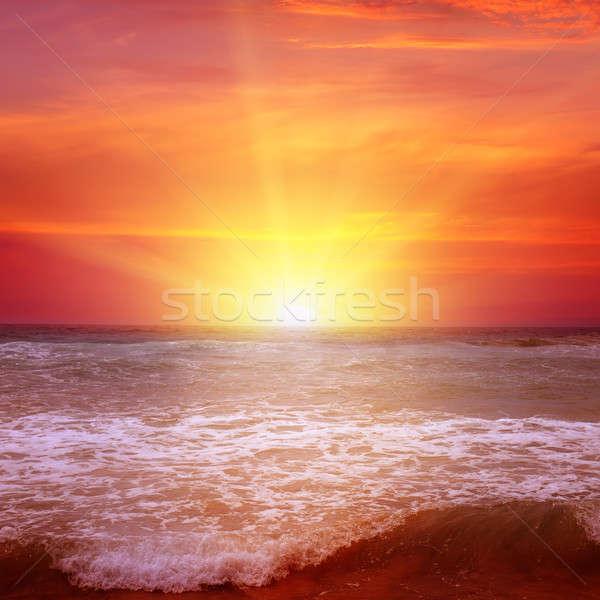 Stock fotó: Fantasztikus · napfelkelte · óceán · víz · felhők · tavasz