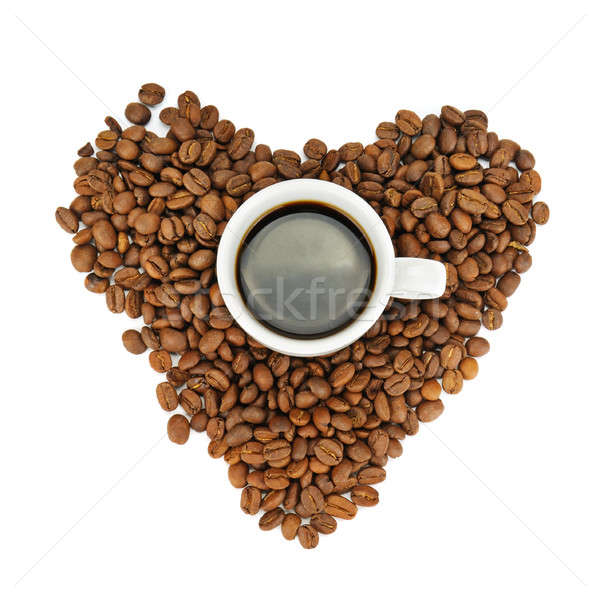 Stock photo: coffee beans and cup isolated on white background