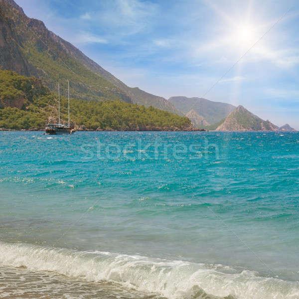海景 青空 海岸 水 雲 太陽 ストックフォト © alinamd