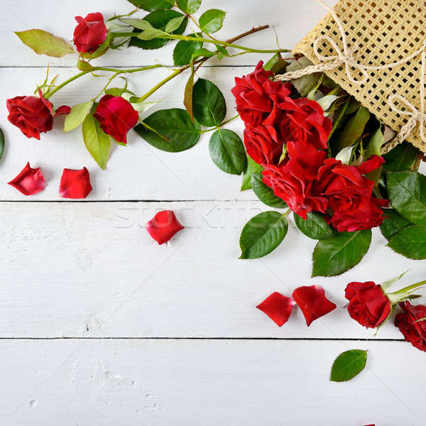 Red roses on a white wooden background. Stock photo © alinamd