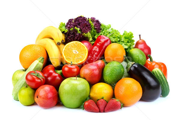 set of fruits and vegetables  on white background Stock photo © alinamd
