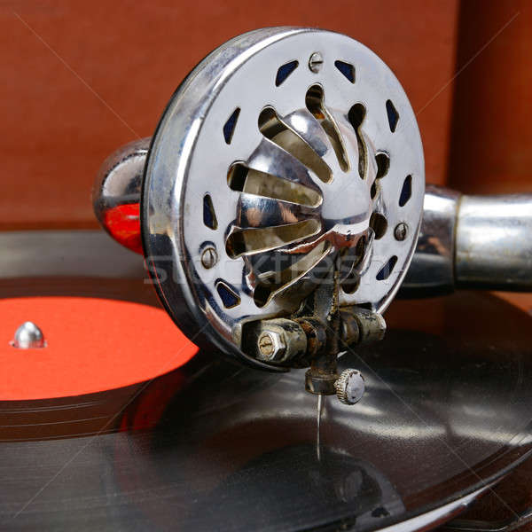 Eski gramofon vinil kayıt arka plan kutu Stok fotoğraf © alinamd