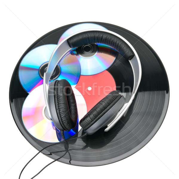 Vinyl discs, CDs and headphones isolated on white background Stock photo © alinamd