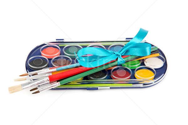 set of paints and brushes Stock photo © alinamd