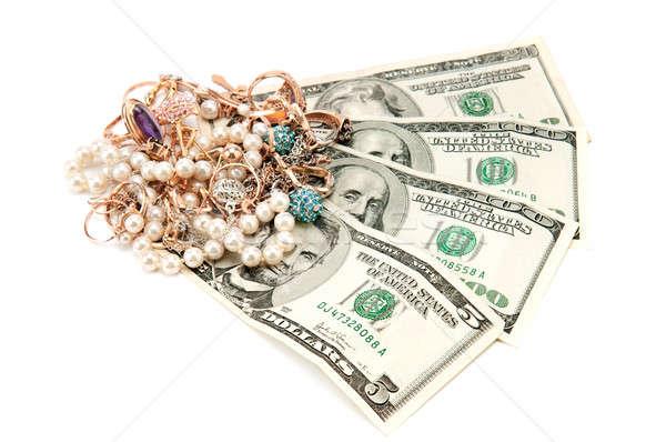 Stok fotoğraf: Altın · süsler · dolar · yalıtılmış · beyaz · iş