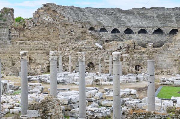 ősi színház óváros oldal Törökország építkezés Stock fotó © alinamd