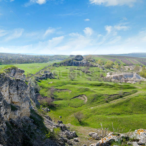 известняк зеленый холмы небе весны Сток-фото © alinamd