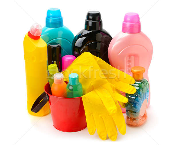 set of household chemicals isolated on white background Stock photo © alinamd