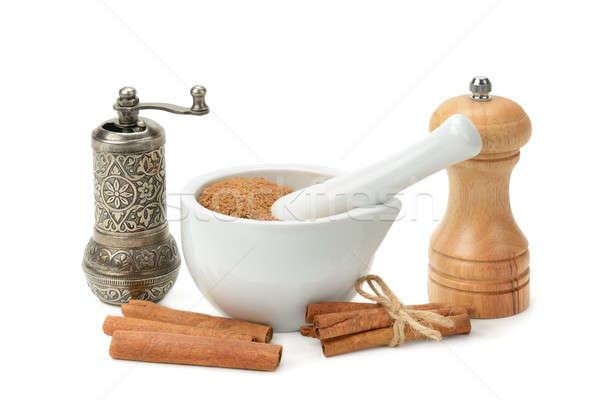 cinnamon, mortar and pestle, hand grinder Stock photo © alinamd