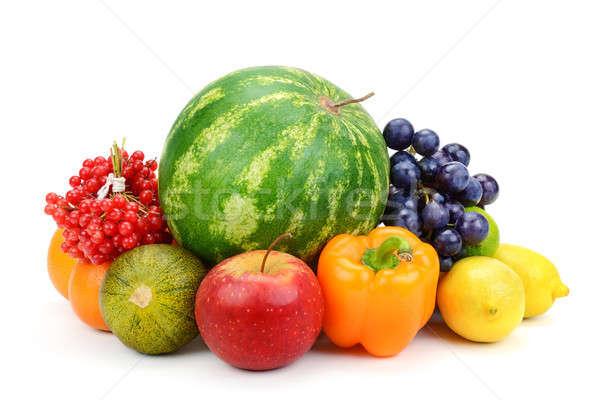 Meyve sebze yalıtılmış beyaz arka plan limon Stok fotoğraf © alinamd