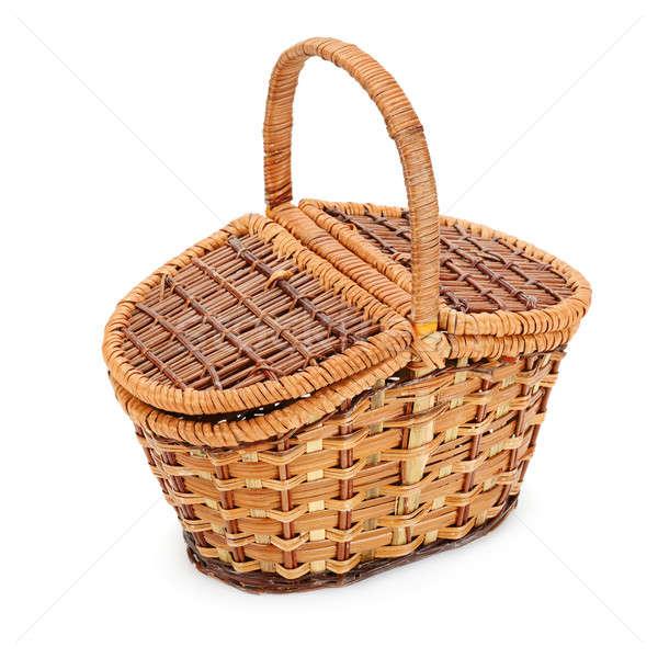Wiklina koszyka odizolowany biały drewna tle Zdjęcia stock © alinamd