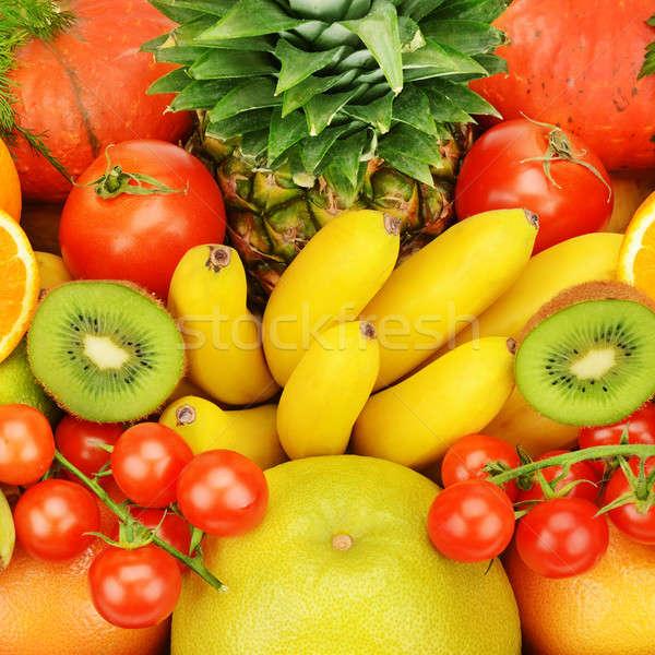 Unterschiedlich Früchte Gemüse Obst Hintergrund orange Stock foto © alinamd