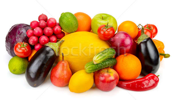Stock photo: fruits and vegetables isolated on white background