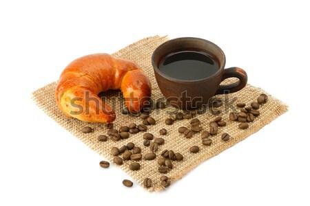 Stock fotó: Croissant · kávé · izolált · fehér · háttér · kenyér