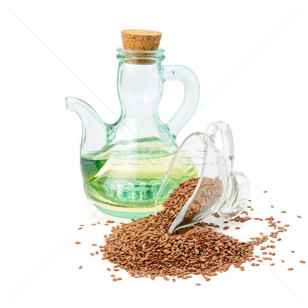 flax seeds and oil isolated on white Stock photo © alinamd