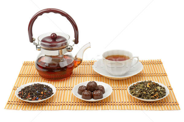 tea, teapot and cup isolated on white background Stock photo © alinamd