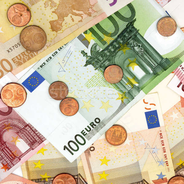 Background of the euro banknotes and coins Stock photo © alinamd