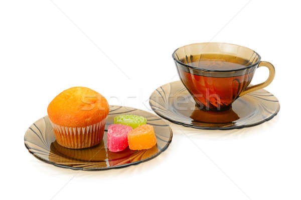 Cup of tea, cupcake and marmalade isolated on white background Stock photo © alinamd