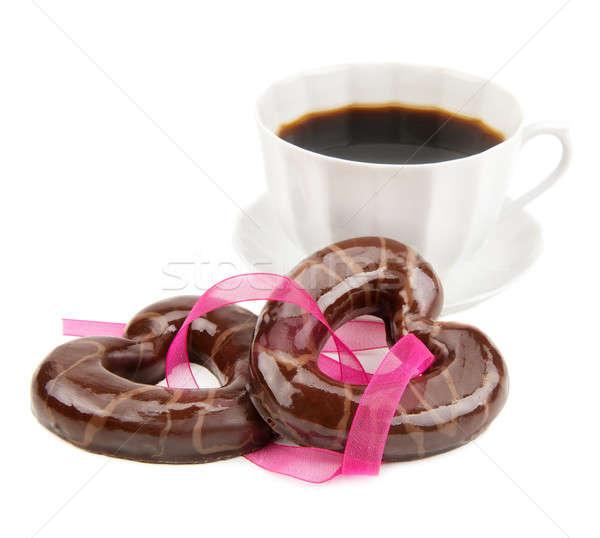 Cookie kubek kawy czekolady herbaty wstążka Zdjęcia stock © alinamd