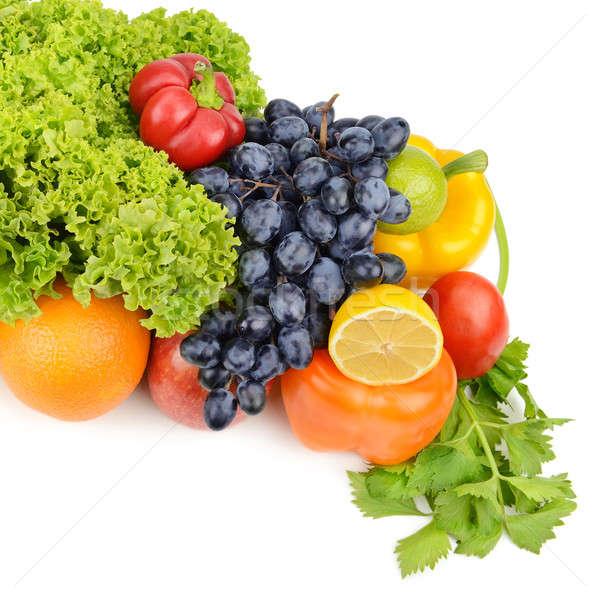 Foto stock: Frutas · legumes · isolado · branco · maçã · folha