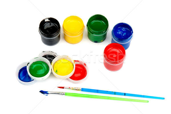watercolor paints and brushes isolated on white background Stock photo © alinamd