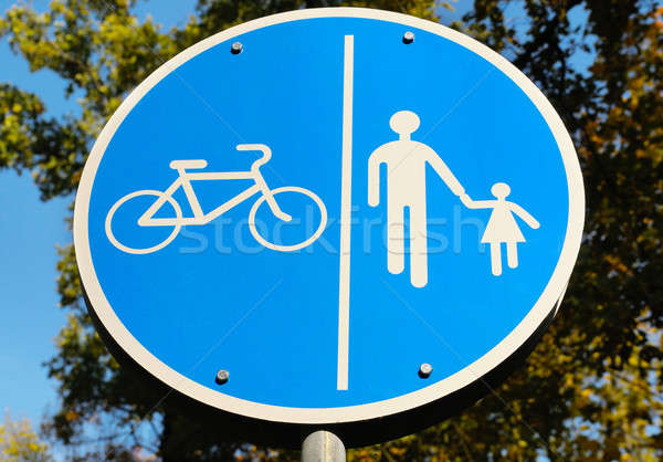 road sign for bikes and pedestrians Stock photo © alinamd
