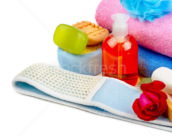 towels, soap and sponges isolated on white background Stock photo © alinamd