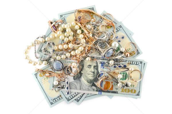 Arany ékszerek dollár izolált fehér felső Stock fotó © alinamd