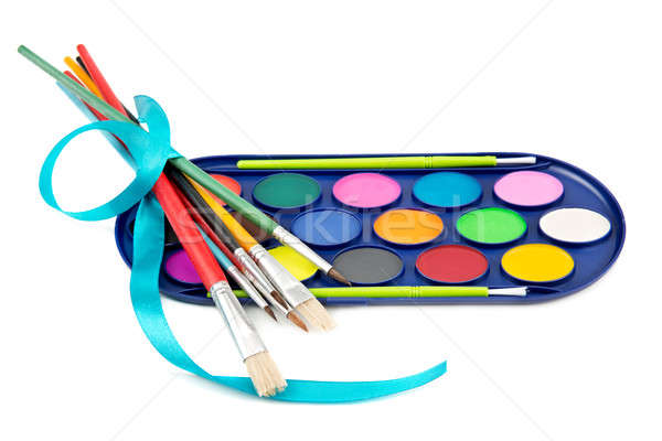 kit of watercolor paints and brushes for painting Stock photo © alinamd