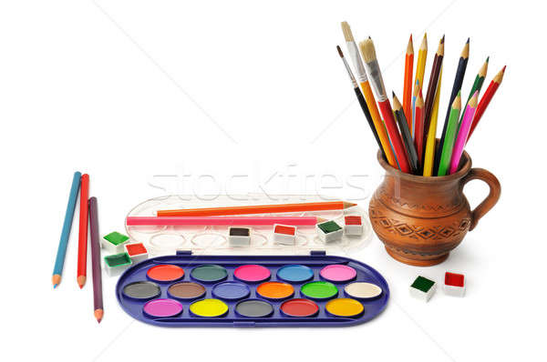 watercolor paint and colored pencils Stock photo © alinamd