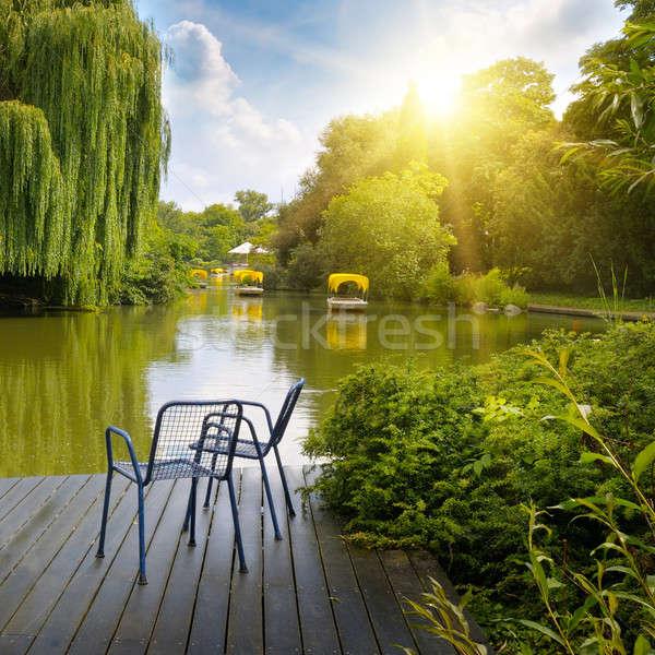 Plate-forme lac parc eau arbre Photo stock © alinamd